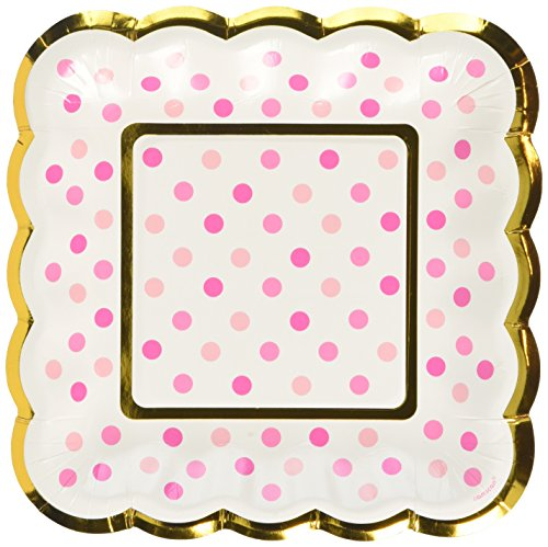 Mini Pink Polka Dot Scalloped Paper Plates (36ct) (Polka Pink Dot Plates)