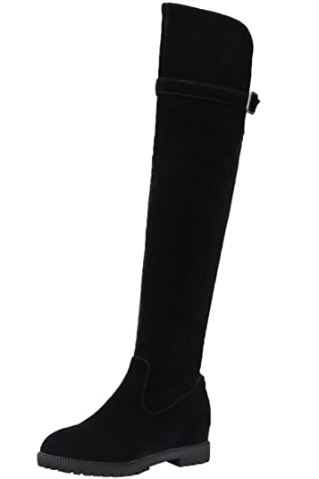 Over The Knee Boots Women Faux Suede Increased Black Fall Winter Elegant Thigh High Boots By BIGTREE