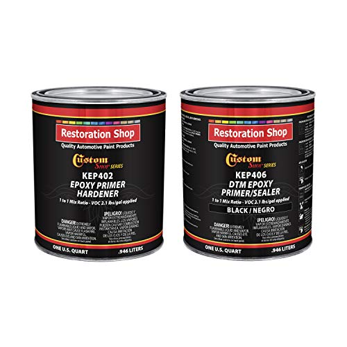 Industrial Epoxy Paint - Custom Shop - Black Epoxy Primer/Sealer 2.1 VOC (1/2 Gallon Kit) Anti-Corrosive DTM High-Performance Primer for Automotive and Industrial use Kit = 1 Qt. Epoxy Primer +1 Qt. Epoxy HDR.(1-1 Mix)