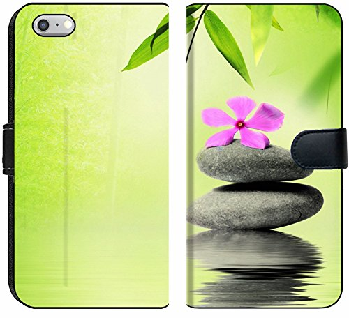 Apple iPhone 6 and iPhone 6s Flip Fabric Wallet Case Image 20152514 Zen Stone with Flower in Spa Concept