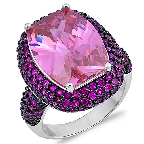 ed Micro Pave Ring New .925 Sterling Silver Band Size 9 (Pink Topaz Ring)