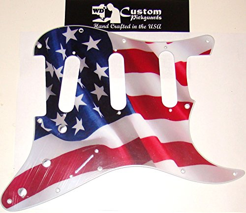 AMERICAN FLAG (WAVING BANNER) PICKGUARD FOR FENDER STRAT, HAND CRAFTED IN USA