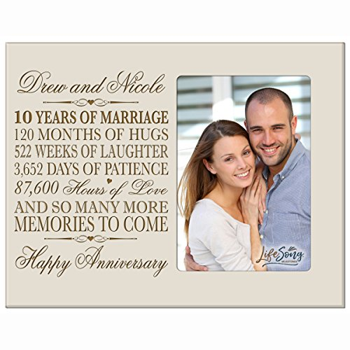 Personalized ten year anniversary gift her him couple Custom Engraved 10th year wedding celebration for husband wife girlfriend boyfriend frame holds 4x6 photo by LifeSong Milestones (Ivory) ($10 Her Gifts For)
