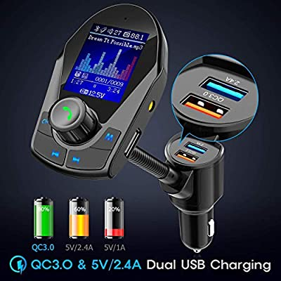 Nulaxy Bluetooth FM Transmitter for Car, Upgraded 1.8