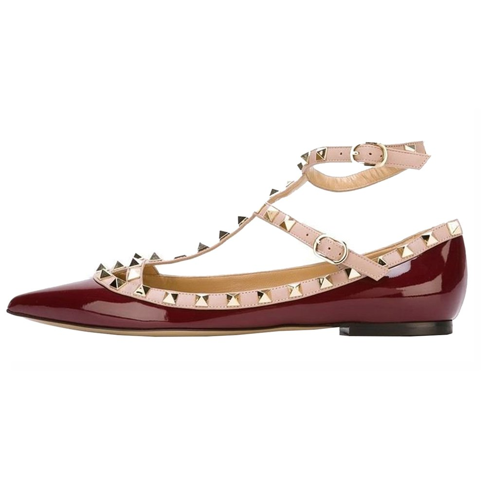 VOCOSI Women's Ankle Strap Studded Pointed Toe Pumps Rivets T-Strap Flat Pumps Dress B0794W855S 8.5 B(M) US|Burgundy(manmade Patent Leather With Gold Rivets)