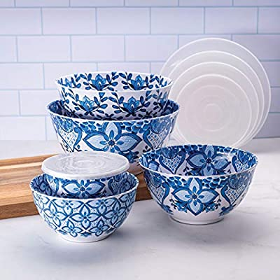 "10 Piece Melamine Mixing Bowl Set Blue""French Country"""