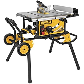 Ridgid r4510 heavy duty portable table saw with stand power table dewalt dwe7491rs 10 inch jobsite table saw with 32 12 inch rip capacity and rolling stand greentooth Choice Image