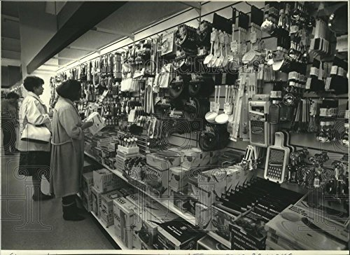 Vintage Photos 1990 Press Photo Shoppers At T J  Maxx Store  New Cookware Department