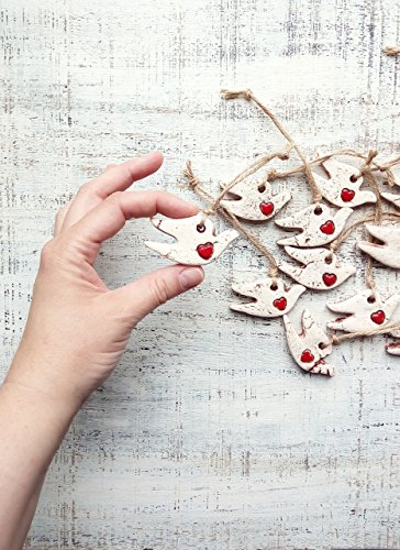 Set of 8 Rustic bird Christmas ornaments white dove red (Dove Christmas Tree)