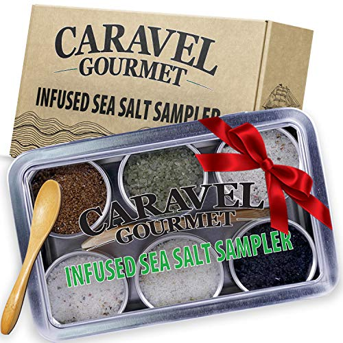 The Infused Sea Salt Sampler – 6 Reusable Tins with Bamboo Spoon – – Hawaiian Bamboo Jade, 5 Pepper, Garlic Medley, Rosemary, and Hawaiian Black Lava – 1/2 oz each (3 oz total)