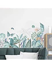 MOLANCIA Green Tropical Leaves Wall Decal, Grass Skirting Line Wall Stickers, Nature Tropical Leaf Wall Art Decor, Plants Leaf Wall Stick Art Murals for Bedroom Living Room Kitchen Classroom