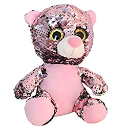 Teddy Bear Stuffed With Reversible Pink Flip Sequins