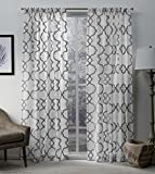 Exclusive Home Muse Geometric Jacquard Linen Sheer Window Curtain Panel Pair with Rod Pocket, 54×84, Silver, 2 Piece For Sale