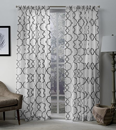 Exclusive Home Muse Geometric Jacquard Linen Sheer Window Curtain Panel Pair with Rod Pocket, 54x84, Silver, 2 Piece (Jacquard Rod Pocket Curtains)