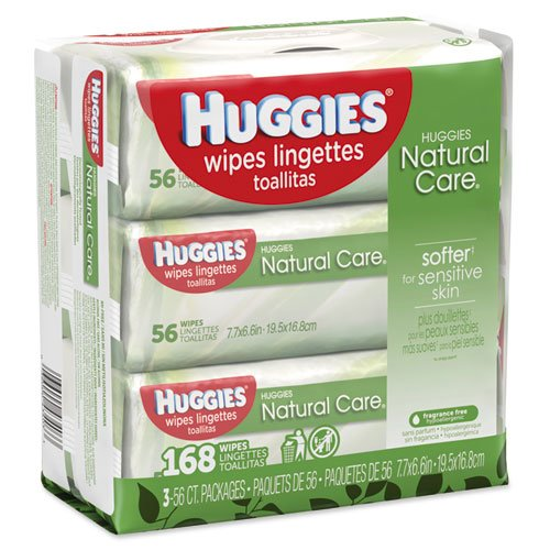 Huggies Natural Care Baby Wipes, Unscented, White, 56/Pack, 3-Pack/Box