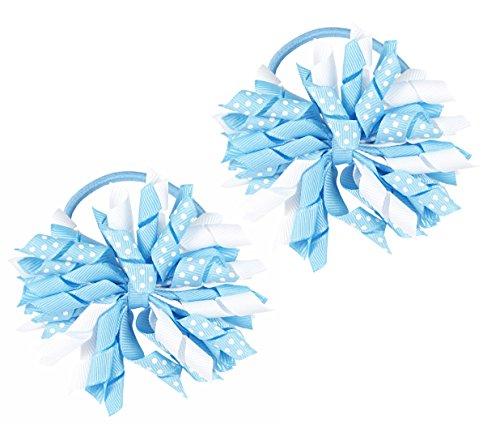 Hair Ties, HipGirl Boutique Elastic Hair Ties for Girls/ Women, Korker Ribbon, Ponytail Holder, Hair Bows, Cheer Bows (1 Pair Blue mist Korker Pony (Blue Mist Apparel)