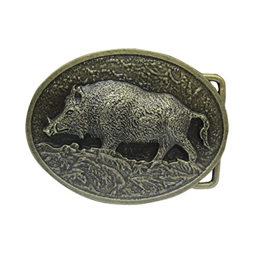 E-Clover Designer Bronzer Wild Boar Western Belt Buckle for Men (Style1)