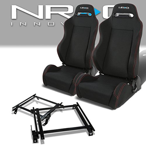 Pair of RSTRLGBK Racing Seats+Mounting Bracket Rail/Track for Acura Integra DA