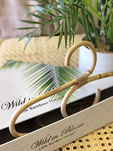 Little Bamboo Hanger, Childrens'; Baby, Bamboo, Rattan, Wooden Hangar or Coat Hanger Gift Set. Perfect as a Baby Shower Gift or for Infant, Toddler and Children's Nursery - Baby Hanger Wood