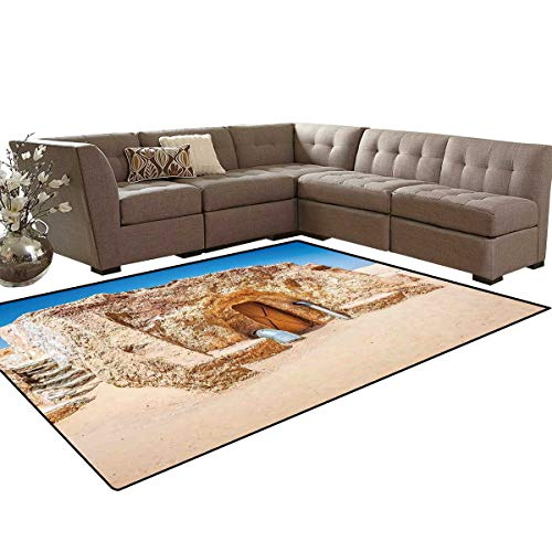 (Galaxy Door Mats for Inside One of Abandoned Sets of Movie in Tunisia Desert Phantom Menace Galaxy Themed Image Bath Mat 5'x6' Brown Blue)