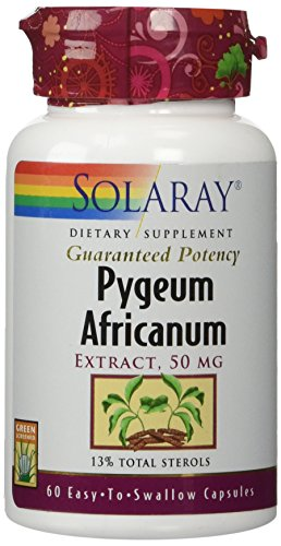 Solaray Pygeum Bark Extract 50mg | Healthy Prostate Support | Guaranteed to Contain 6.5mg Total Plant Sterols | Non-GMO | 60 VegCaps