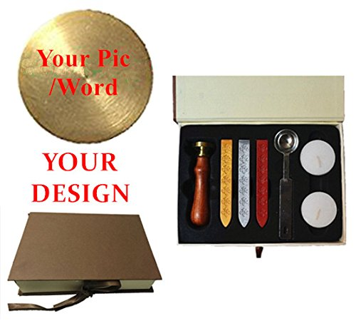 MDLG New Vintage Custom Made Your Design Personalized Letter Picture Logo Retro Invitation Wax Seal Stamp Rosewood Handle Wax Sticks Spoon Gift Box Set