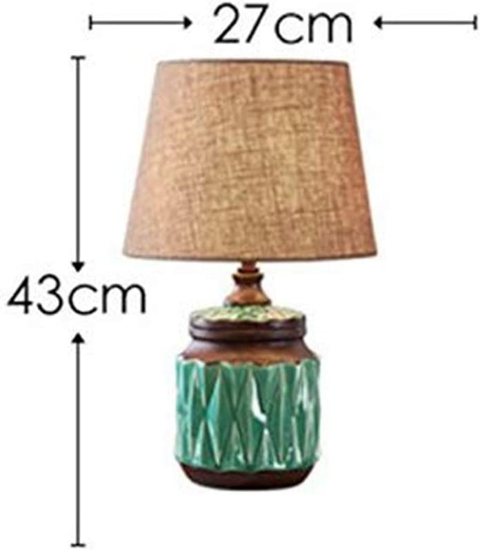 Wjvnbah Ceramic Simple Table Lamp Bedroom Bedside European-style Lamp Living Room American Retro Modern Table Lamp (Color : Blue) Blue