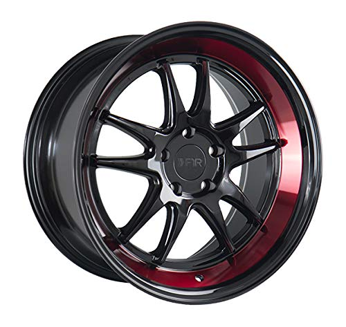 (18x8.5 F1R F102 Black Red Lip Wheel/Rim Bolt Pattern(5x114) Offset (38) Part Number(F10218855114GBR38))