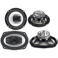 Boss Riot R94 6x9 500W 4 Way Car + R63 6.5 300W 3 Way Coaxial Audio Speakers