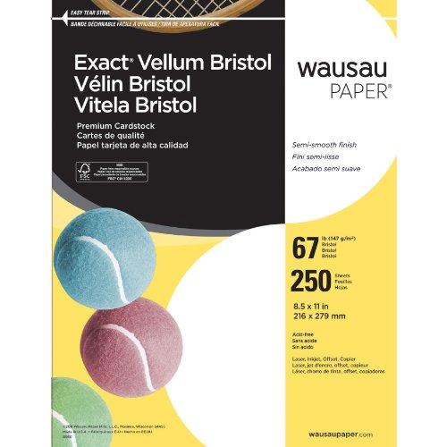 Neenah Exact Vellum Bristol, 67 lb, 8.5 x 11 Inches, 250 Sheets, White, 94 - Vellum Paper Wausau Paper