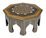Lalhaveli Small Footstools Wooden Round End Table Grey Color 12 x 12 x 6 Inch