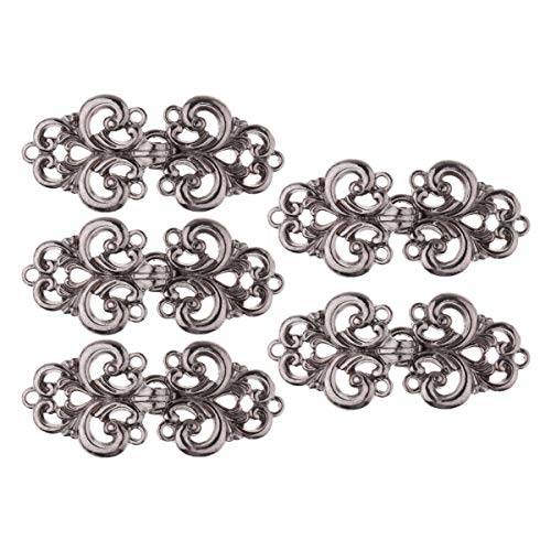 (IEFIEL 5 Pairs Filigree Flower Closure Buttons Fasteners Clasp Sew on Clip for Cardigan Cape or Cloak Gun-Black One Size)