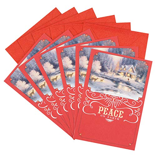 Hallmark Thomas Kinkade Christmas Cards Pack (6 Cards with Envelopes)