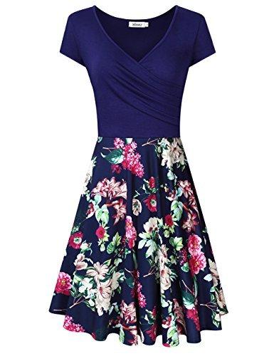 MISSKY Women's V Neck Long Sleeve Pocket Floral Print Swing Casual Dress (L, L-RF-Short Sleeve)