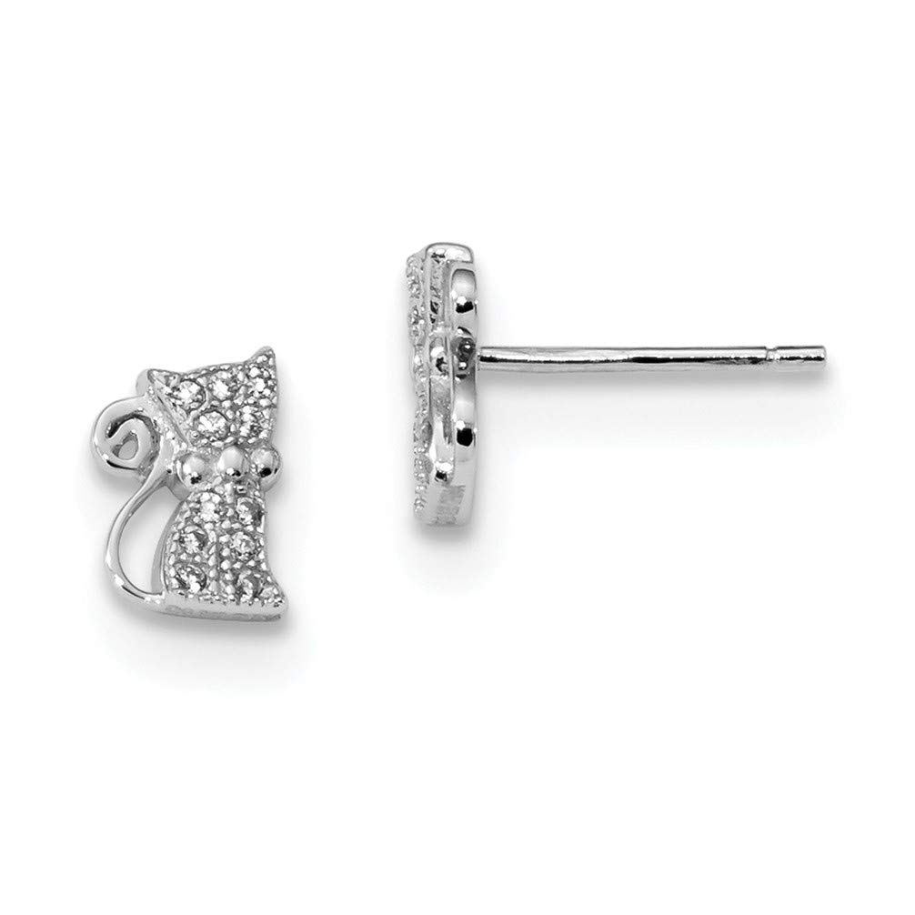 CZ Sitting Cat Post Earrings 8.85X6MM Rhodium-Plated Sterling Silver