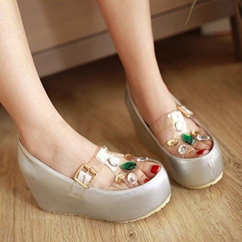 AIYOUMEI Damen Transparente Keilabsatz Sandalen mit Strass und Schnalle Bequem Modern Sommer Schuhe Silber