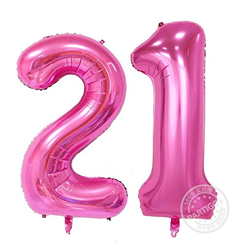 Partigos 40inch Gold 21st Number balloon Party Festival Decorations Jumbo foil helium balloons Girl Birthday party supplies use them as Props for Photos (40inch Number Pink (21st Party Decorations)