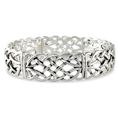 Celtic Knot Interlace Design Polished Silver Tone Stretch Bracelet