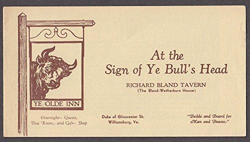 - At the Sign of Ye Bull's Head Richard Bland Tavern Williamsburg VA folder 1920s