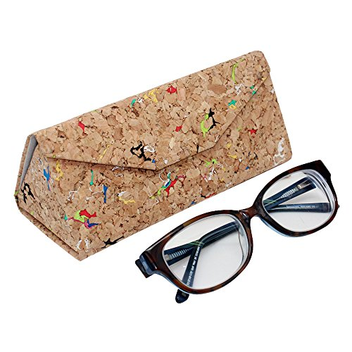 Boshiho ECO-Friendly Natural Cork Sunglasses Box Foldable Triangle Sun Glasses Case Eyeglass Holder Case Jewelry Box Case (Multicolor) (Sunglasses Cork)