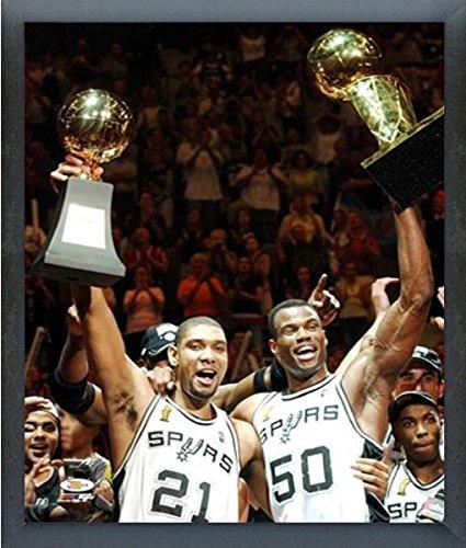 "Tim Duncan & David Robinson San Antonio Spurs NBA Champions Trophy Photo (Size: 12"" x 15"") Framed"