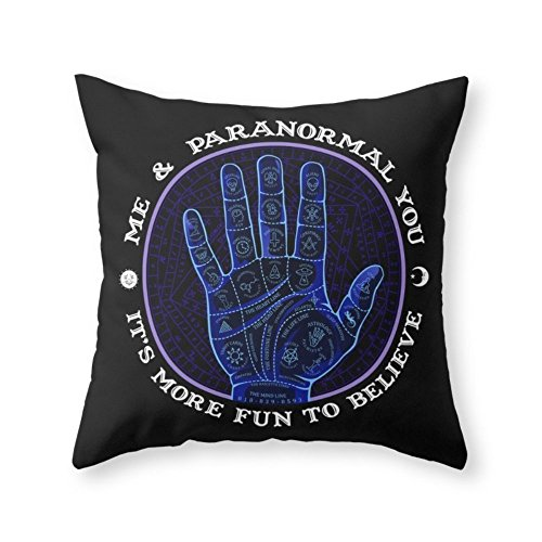 Society6 Me & Paranormal You - James Roper Design - Palmistry (white Lettering) Throw Pillow Indoor Cover (20'' x 20'') with pillow insert by Society6