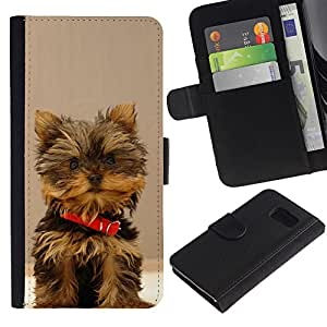 EuroCase - Samsung Galaxy S6 SM-G920 - yorkshire terrier small dog puppy - Cuero PU Delgado caso cubierta Shell Armor Funda Case Cover