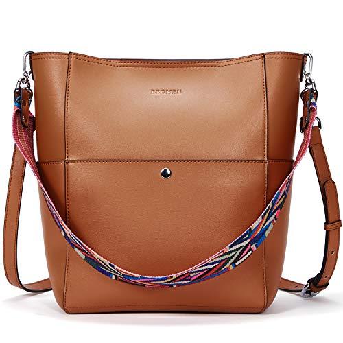 BROMEN Women Leather Handbag Designer Hobo Shoulder Bag Cross-body Bucket Purses (Leather Bucket Bags Handbags)
