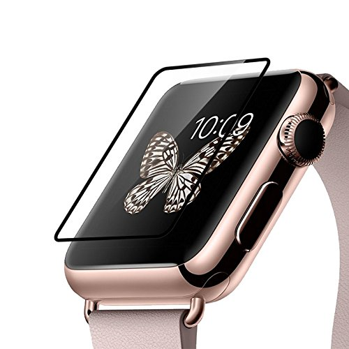 HOCO Apple Watch Screen Protector 0.1MM Full Rim Tempered Glass Film 9H Strength iWatch Protective Cover for Series 1 2 (Glass 0.1MM Black 38MM)