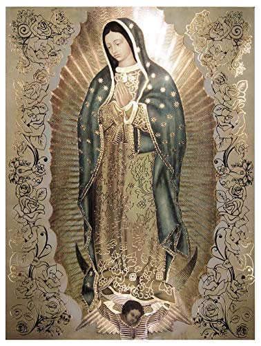 Our Lady of Guadalupe Body Portrait, Gold Foil Engraved - Religious Wall Art Print Poster (8x10)
