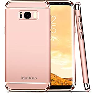 Galaxy S8 Case, MaiKuo Ultra-thin 3in1 Plastic Frame Slim fit Shockproof Electroplate Metal Texture Armor PC Hard Back Cover Skin & Case for Samsung Galaxy S8 _Rose Gold