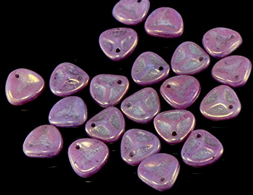 50pcs Shiny Vega Purple Czech Glass Rose Petal Beads Pressed Flat Flower 7mm x ()