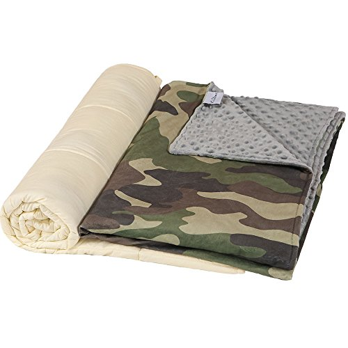 Hiseeme Weighted Blanket & Washable Removable Cover for Kids and Children | 10 lbs | 41'' x 60'', Twin Size | Premium Super Soft Minky Dot | Camouflage