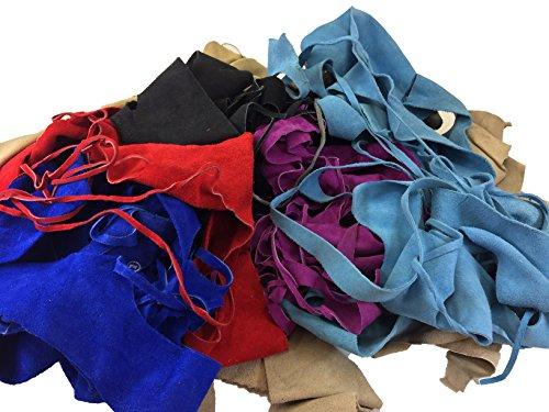 Special Discount Bright Color Suede Scrap (5lbs, (Suede Cow Leather)
